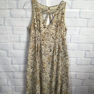 Anthro Moulinette Soeurs Cream Silk Floral Dress